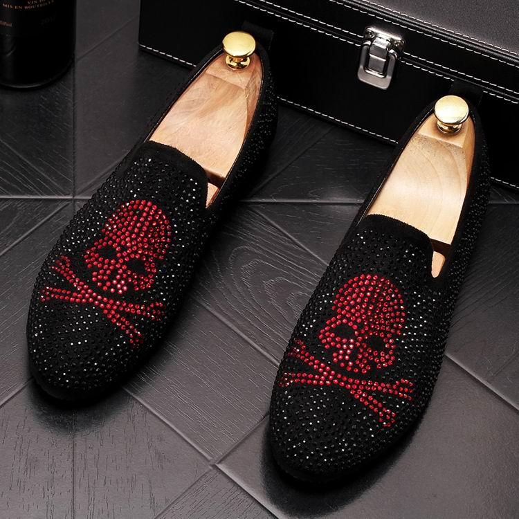 Casuais Strass Mens Tendência Homem Azul Tamanho De Deslizamento Luxo Em Britânico 38 Loafer Ouro Charme Da vermelho Errfc Sapatos Crânio Designer 43 Moda 6ZWwpg
