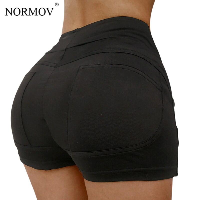 NORMOV Sexy High Waist   Shorts   Women Summer Beach Casual Push Up Booty   Shorts   Feminino Skinny Elastic Workout   Shorts   Female