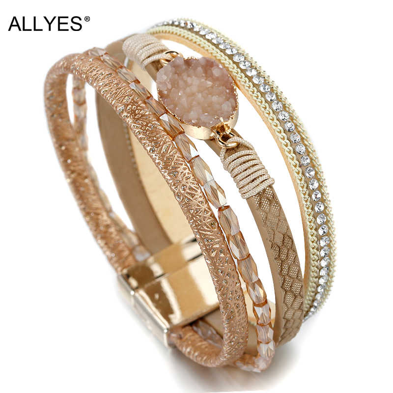 ALLYES Stone Charm Leather Bracelets For Women 2019 Fashion Crystal Ladies Boho Multilayer Wide Wrap Bracelet Female Jewelry