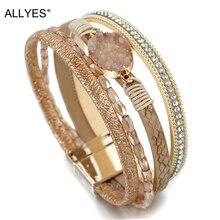 ALLYES Stone Charm Leather Bracelets For Women 2019 Fashion Crystal Ladies Boho Multilayer Wide Wrap Bracelet Female Jewelry