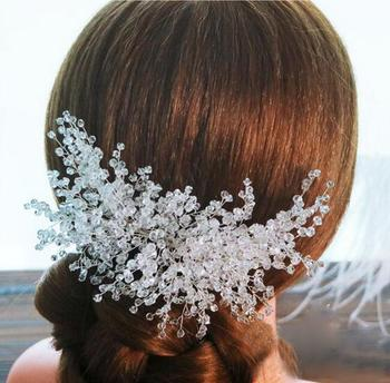 Wedding romantic gold crystal comb hair jewelry bridal hair accessories 2