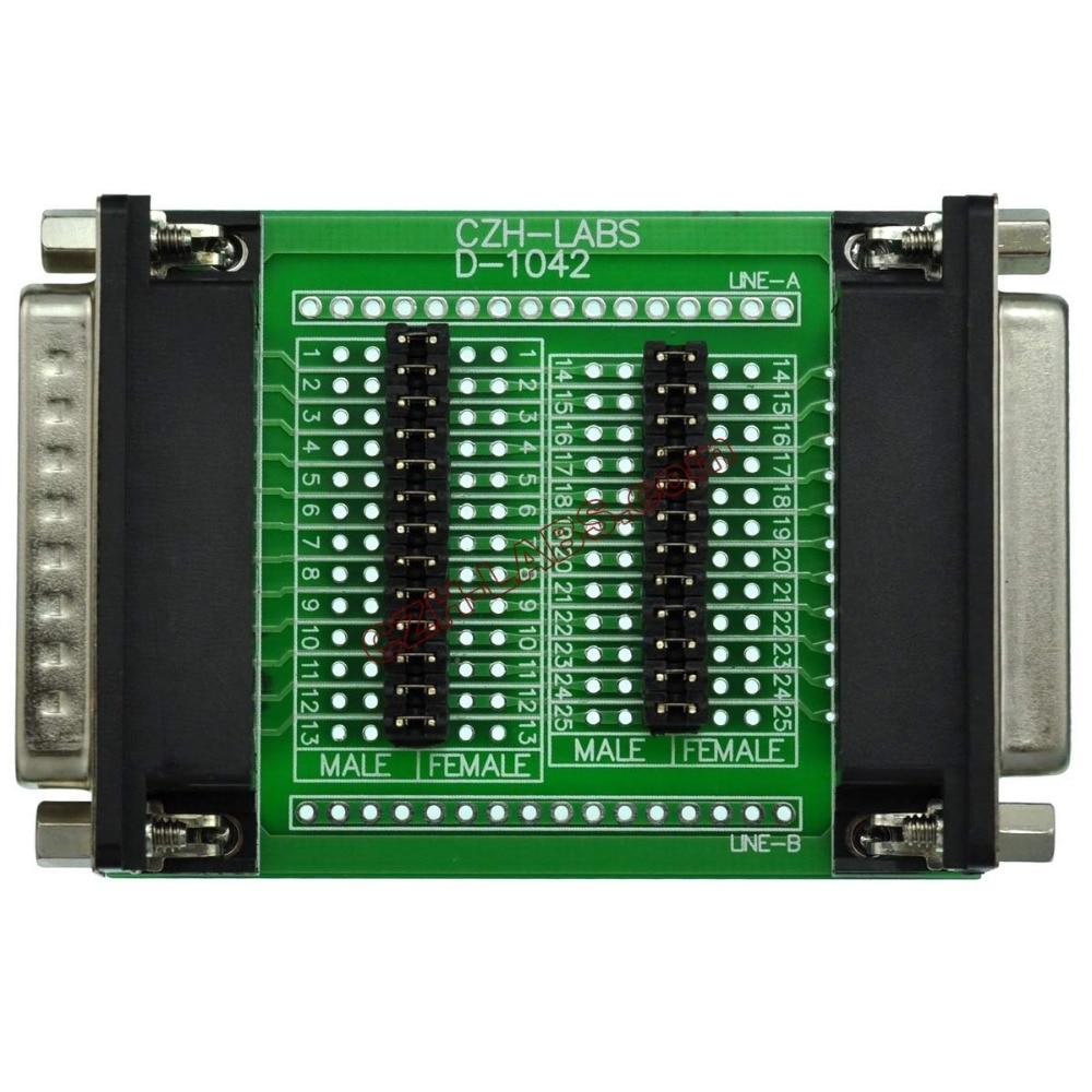 CZH-LABS D'sub DB25 Diagnostic Test Breakout Board, DSUB DB25 Connector Male To Female.