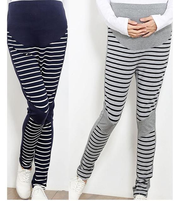 Беременным полосатый сращены леггинсы брюки одежду для беременных женщин регулируемый плотно брюк одежда collant maternite