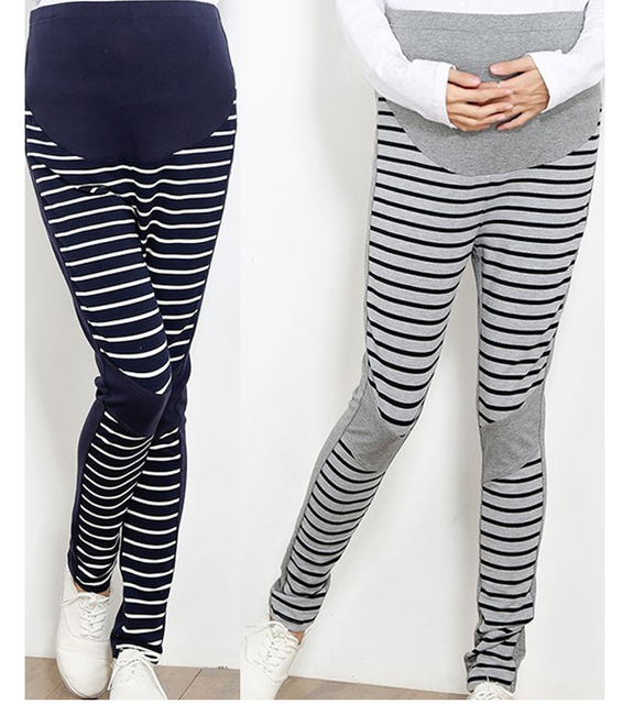 Women Maternity Striped spliced leggings pants clothes for pregnant womens Adjustable Tight trouser clothing collant maternite