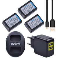 DuraPro 3Pcs 2000mAh NP FW50 NPFW50 NP FW50 Battery LCD Dual Charger For Sony NEX 5