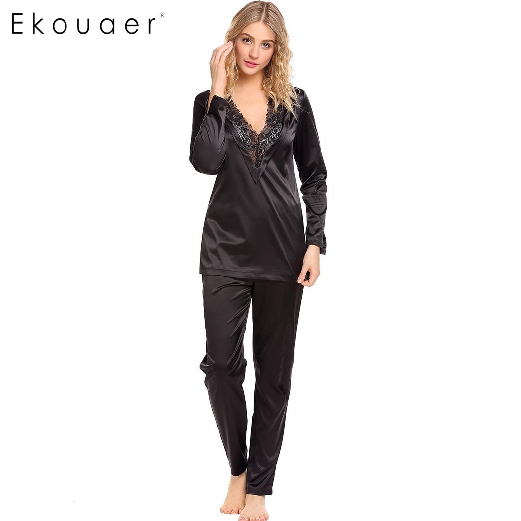 Ekouaer Women Satin   Pajamas     Set   Sleepwear Lace Trim V-Neck Long Sleeve Tops And Pants   Pajama     Sets   Female Nightwear