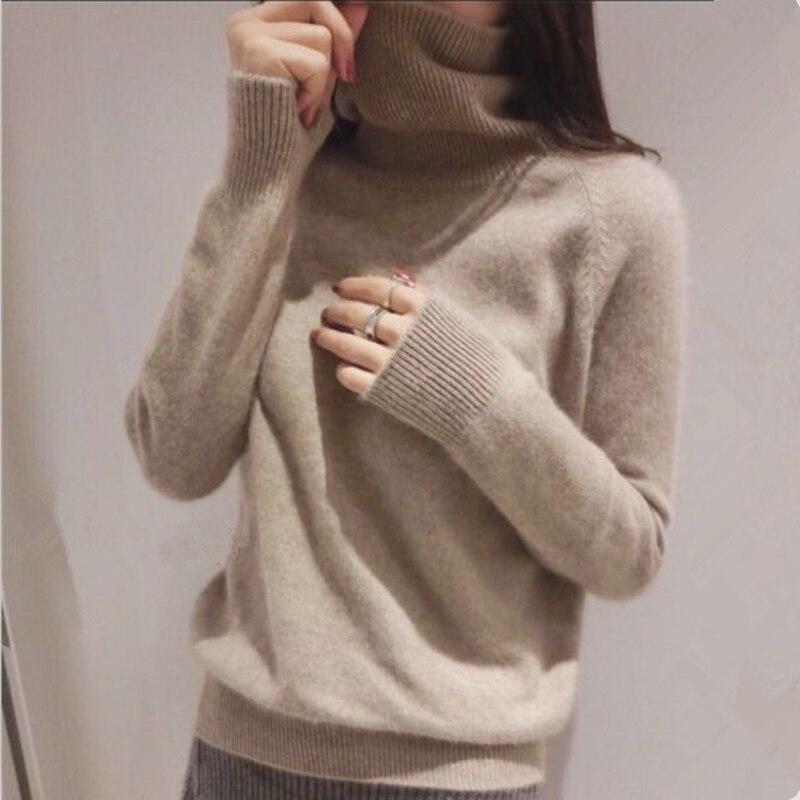 Gejas ainyu 18 на осень зиму кашемировый свитер женский пуловер с высоким воротником свитер с высоким воротом Женские однотонные женские Классический свитер купить на AliExpress