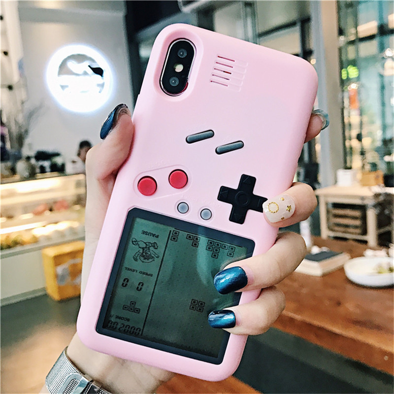 Pink Retro Gameboy Tetris Phone Cases For iphone 6 6s 7 8 Plus X Play Game Console Back Cover for iphone X 8 7 6s 6 coque fundas iPhone