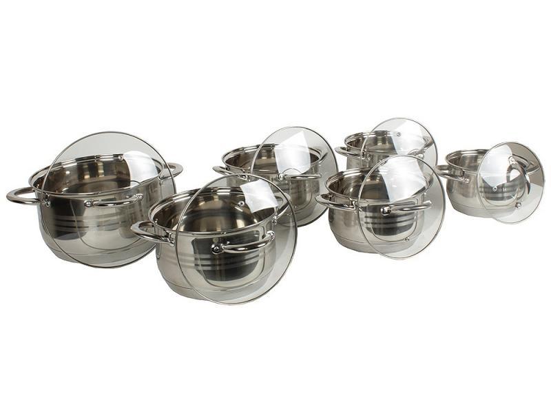 A Set Of pans MAYER & BOCH, 12 pieces set of 6 pieces cotton box set of 6 pieces