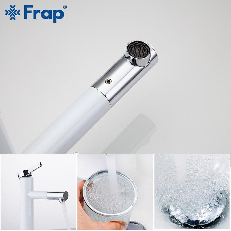 Frap White Basin Faucets Waterfall Bathroom Faucet Single handle Basin Mixer Tap Bath Faucet Brass Sink Water Crane F1052-15/53