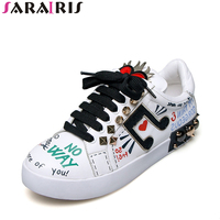 SARAIRIS Brand Shoes Women Flat Heels Genuine Leather Lace Up Rivets Cow Leather Comfortable Shoes Woman