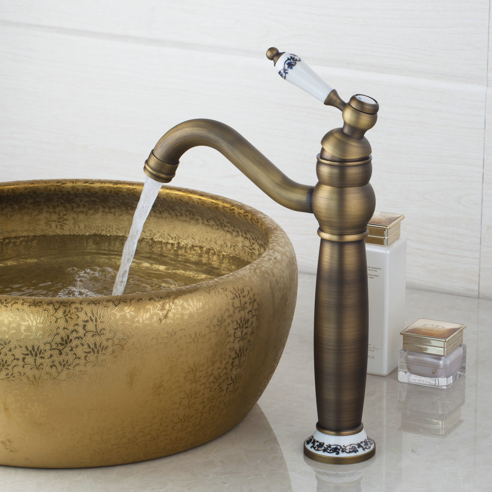 Antique Brass Ceramic Swivel Special Basin Faucet Deck Mounted Single Handle Single Hole Hot Cold Water Eminent Basin Faucet jomoo deck mounted brass basin faucet water outlet hole 360 degree rotate water tap single handle single hole hot and cold mixer
