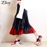 Ellacey 2018 Spring Fashion Trend Pleated Skirt Women S Contrast Color Saia Patchwork Skirt Streetwear Velvet