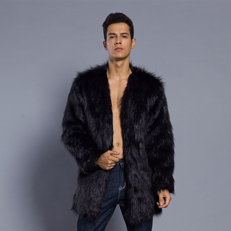 eeabd042d Faroonee Faux Fur Coat for Men Winter Thicken Warm Artificial Fur Outerwear  Coat Collarless Hairy Jackets White Black 6Q0317