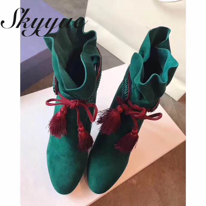 SKYYUE New Genuine Leather Fringe Lace Up Women Boots Pleated Leather Pointed Toe Thin HIgh Heel Ankle Boots цена