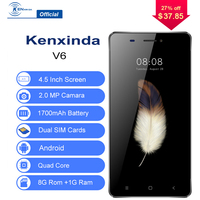 Enough Inventory 3G Unlocked Kenxinda V6 Smartphone 4.5 Inch Android 7.0 Quad Core 1G+8G 1700mAh Mobile Phone Cellphone Celular