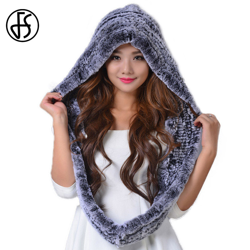 FS Women Winter Hat 100% Rex Rabbit Fur Hats Neck Warmer Knitted Snow Cap Casual Thicken Skullies Beanies Female Warm Caps