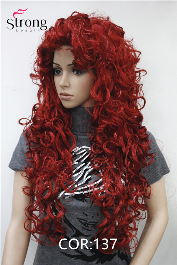Image 4 - StrongBeauty Long Curly Red Synthetic Wig Cosplay Wigs COLOUR CHOICESchoice   -