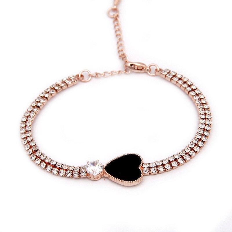 Elegant CZ Crystals Bracelets for Women Love Heart font b Jewelry b font Lady Party Dress