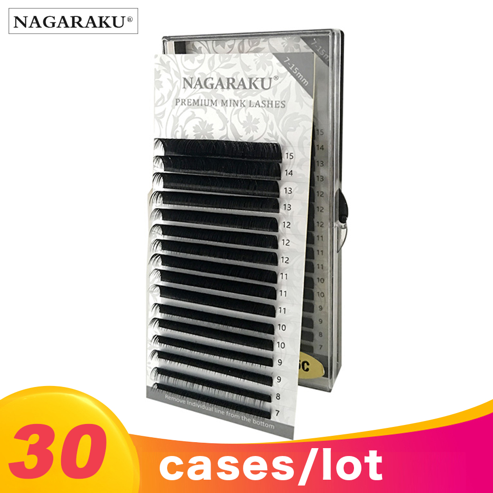 NAGARAKU 30cases 16rows case 7 15mm Mix premium natural synthetic mink eyelash Faux individual eyelash extension