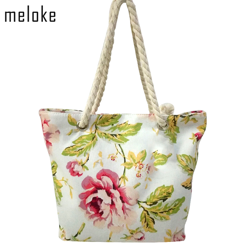 meloke 2018 high quality women cotton strap shoulder bags star printed canvas beach bags large size travel bags book bags