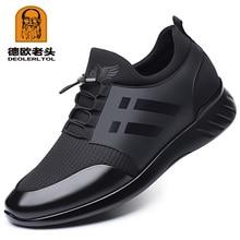 2020 รองเท้าผู้ชายคุณภาพLycra + วัวรองเท้าหนัง 6 ซม.เพิ่มอังกฤษรองเท้าฤดูร้อนใหม่สีดำMan casualรองเท้าความสูงรองเท้า