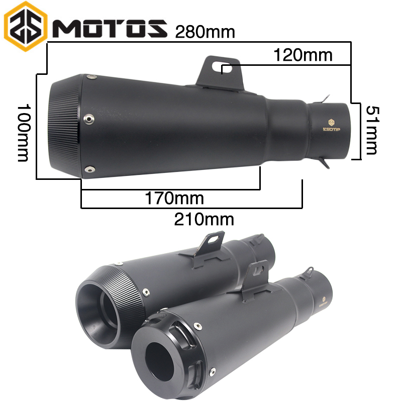 все цены на ZS MOTOS 51 mm Modified Motorcycle Dirt Bike Exhaust Escape Scooter Exhaust Muffler Fit for most motorcycle CB400 YZF MT09 TMAX онлайн