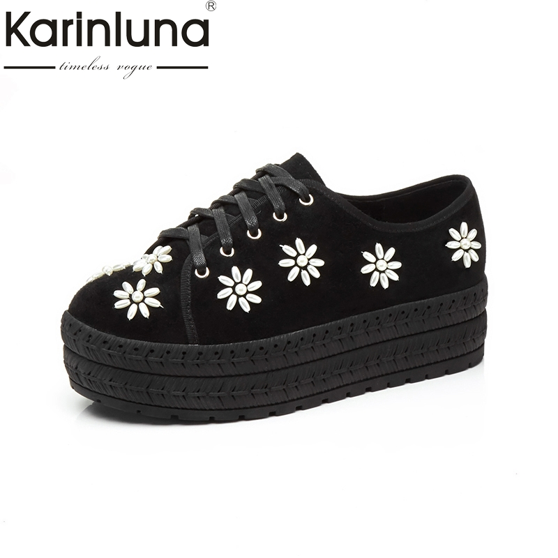 KARINLUNA Genuine Leather 2018 Fashion Size 34-39 Kid Suede Round Toe Platform Shoes Woman Shoes Lace Up Women Platform Flats qmn women genuine leather platform flats women lace cut glossy leather square toe brogue shoes woman lace up leisure shoes 34 39