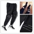 High Street fashion zipper mens joggers pantalones motorista fresco pantalones de chándal las mujeres y los hombres pantalones de hip hop para hombre medias de la danza de la calle pantalones