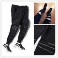 High Street moda zipper calças dos homens corredores motociclista legal moletom mulheres e homens calças hip hop calças dos homens de dança de rua calças