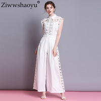 Ziwwshaoyu Elegant Slim Jumpsuits Turn down Collar Rivet Hollow Out Holiday Jumpsuits Spring and summer new women