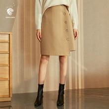 e29fa0516 FANSILANEN 2019 nueva llegada moda Otoño/primavera breve de lana de las  mujeres de lana faldas asimétricas sólido color caqui Z8.