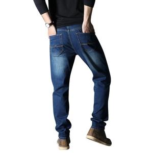 Image 4 - 2020 جديد الرجال جينز علامة تجارية فضفاض مستقيم مطاطا مكافحة سرقة سستة الدنيم السراويل الذكور حجم كبير 40 42 44 46 48
