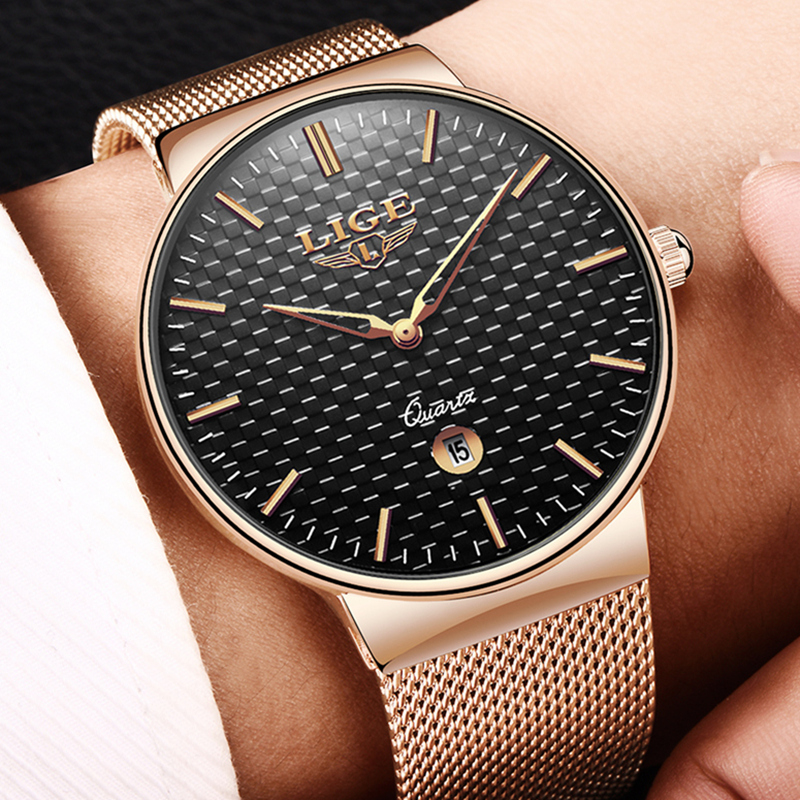LIGE Watch Men Fashion Sports Quartz Waterproof Business Steel Mesh Watch Mens Watches Top Brand Luxury Clock Relogio Masculino цена