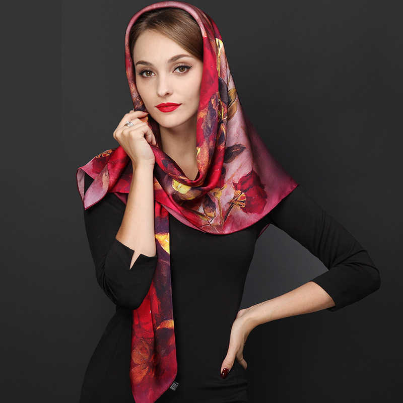 DANKEYISI 110*110 センチメートル 100% シルクビッグスクエアシルクスカーフファッション花プリントショール販売女性本物の天然シルクスカーフショール