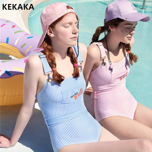 2f4bd809cb382b KEKAKA 2018 Korean Cute Baby Pink Blue Striped One Piece Swimsuit Monokini  For Young Lady Cheeky Bow Bathing Suit Swimwear Women