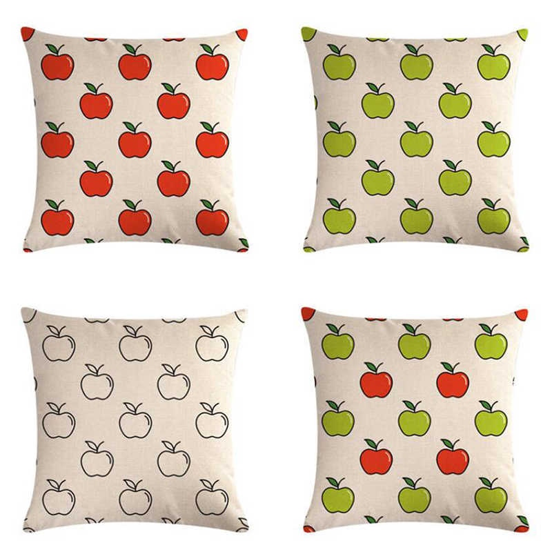 45x45cm Single-side Green Apple Red Apple Series Pillowcase Linen Pillow Cushions Dustproof Cover Household Officice Supplies