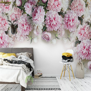 beibehang Custom photo wallpaper mural European romantic Peony TV background wall papel de parede wall papers home decor romantic mediterranean style background wall professional production mural wholesale wallpaper mural poster photo wall