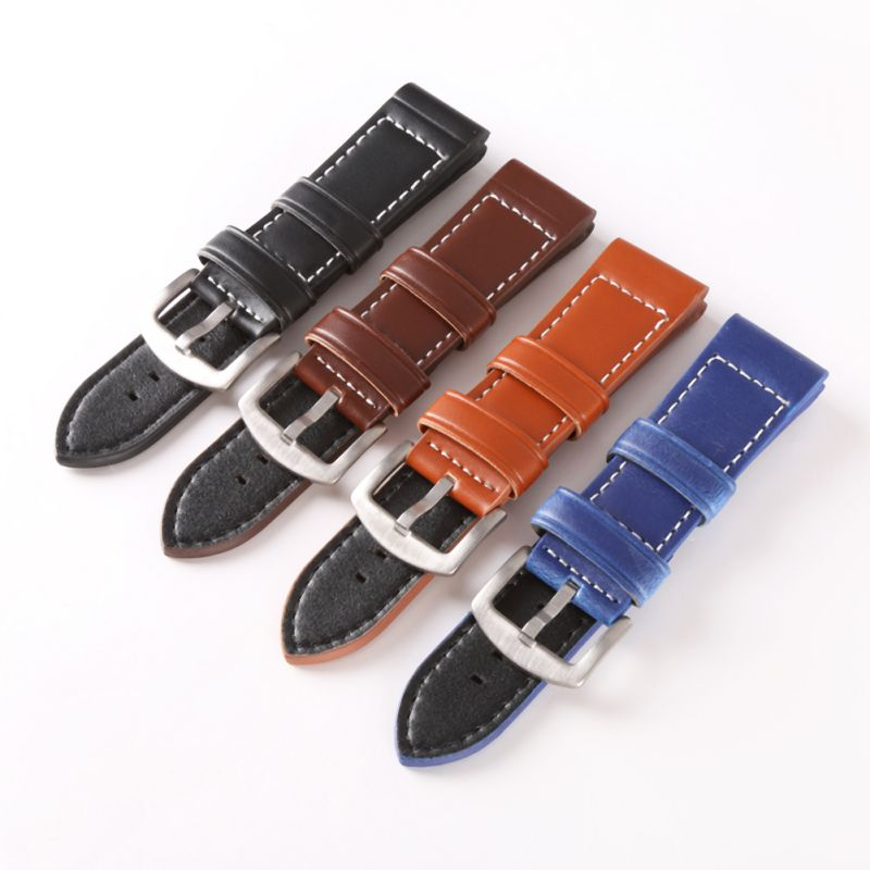 New Strap 18MM 20MM 22MM 24MM 26MM  Vintage  Leather Fashion Watch Band Watch Men Strap Man Watches Straps Black Brown Blue new matte red gray blue leather watchband 22mm 24mm 26mm retro strap handmade men s watch straps for panerai