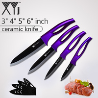 XYj Kithen Tools Ceramic Kitchen Set 3 4 5 6 Inch Knives Cooking Set Black Blade