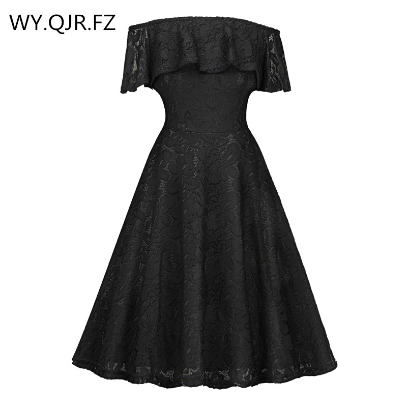 SZSY1846H#Black Boat Neck Lace Short Bridesmaid Dresses Wedding Party Dress Gown Prom Cheap Wholesale Fashion Women's Clothing