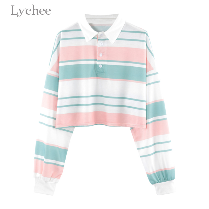 Lychee Summer Women T Shirt Striped Button Turn Down Collar Long Sleeve Casual Loose T Shirt Tee Top Female