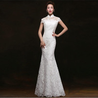 White Lace Fishtail Long Cheongsam Dress Women Modern Qipao Chinois Robe Orientale Traditional Chinese Gown Vintage Wedding