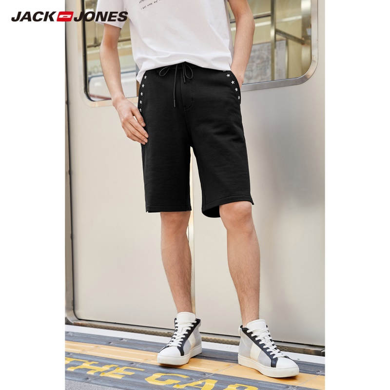 JackJones Men's 100% Cotton Stretch Drawstring Knee-high Shorts Streetwear|219215504