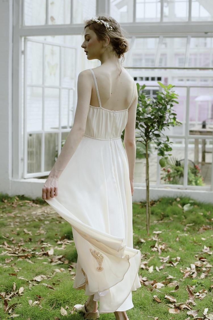 LYNETTE 'S CHINOISERIE Handgemaakte kralen schijf bloemen kwaliteit beige uitbreiding onderkant spaghetti band volledige jurk - 4