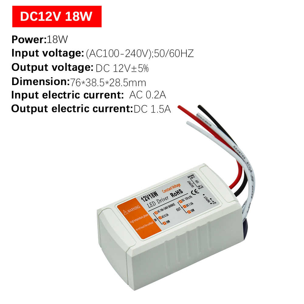 1 sztuk DC12V zasilacz Led sterownik 18 W/28 W/48 W/72 W/100 W Adapter transformator oświetleniowy przełącznik do taśmy LED sufitu światła