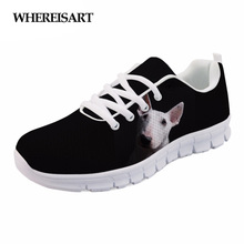 WHEREISART Womens Shoes Animal Bull Terrier Print Casual Female Walking Sneakers Air mesh Breathable Girls Flats Ladies Sapato