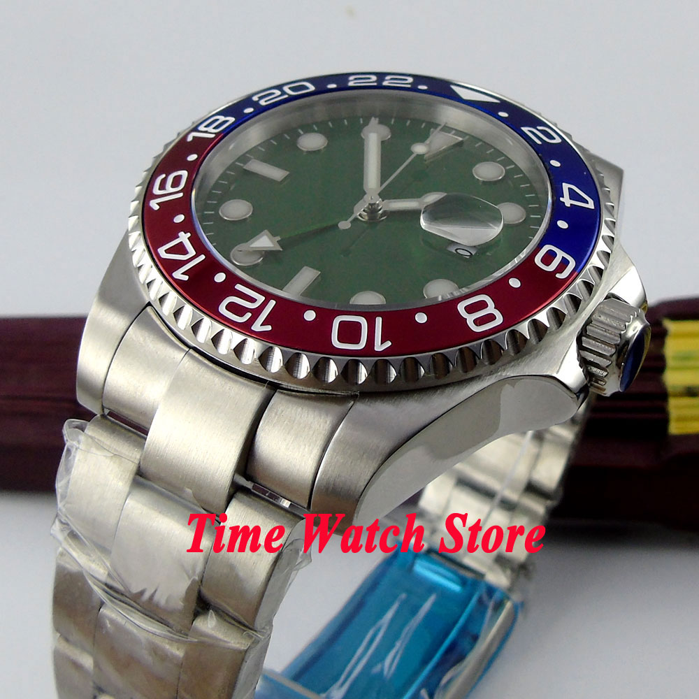 Bliger 43mm Green Sterile dial blue red bezel sapphire glass GMT Automatic movement Men's watch 372 все цены