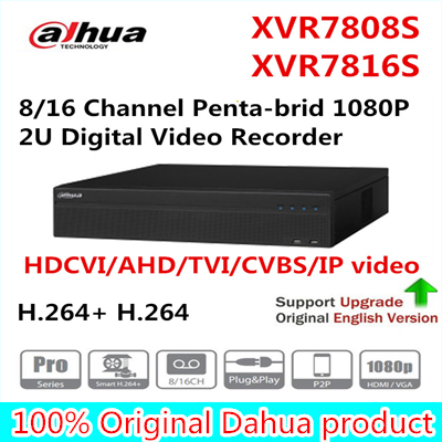 Dahua XVR7808S XVR7816S XVR 8/16 Channel Penta-brid 1080P 2U Digital Video Recorder support HDCVI/AHD/TVI/CVBS/IP video inputs