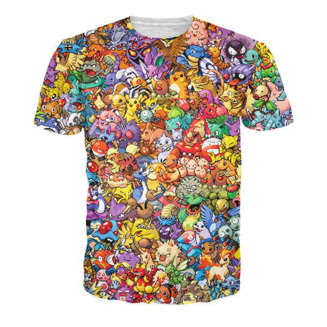 dd0e8374b PLstar Cosmos Women Men 150 Pokemon 8-Bit Collage T-Shirt 90s video game  and anime 3d print t shirt Characters cartoon tee